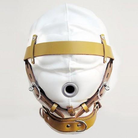 Cagoule complète bondage blanc/gold