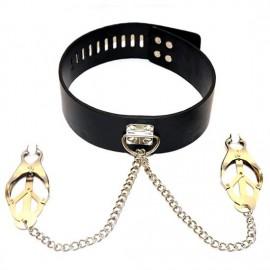 Pince tétons à chaine avec collier