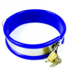 Laisse et collier bleu de soumission