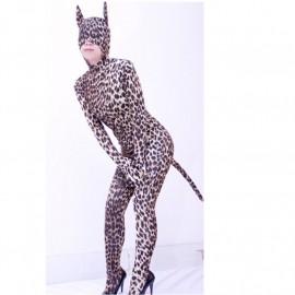 Catsuit leopard avec queue et oreilles