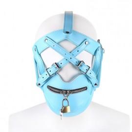 Muselière harnais de tête bouche zippée simili cuir bleu