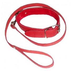 Collier laisse d'esclavage rouge en simili cuir