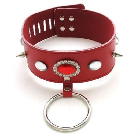 Collier d'esclave rouge à pointes