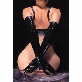 Gants shiny Lycra noir pour femme