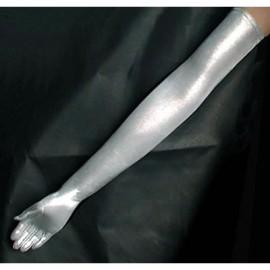 Gants shiny Lycra silver pour femme